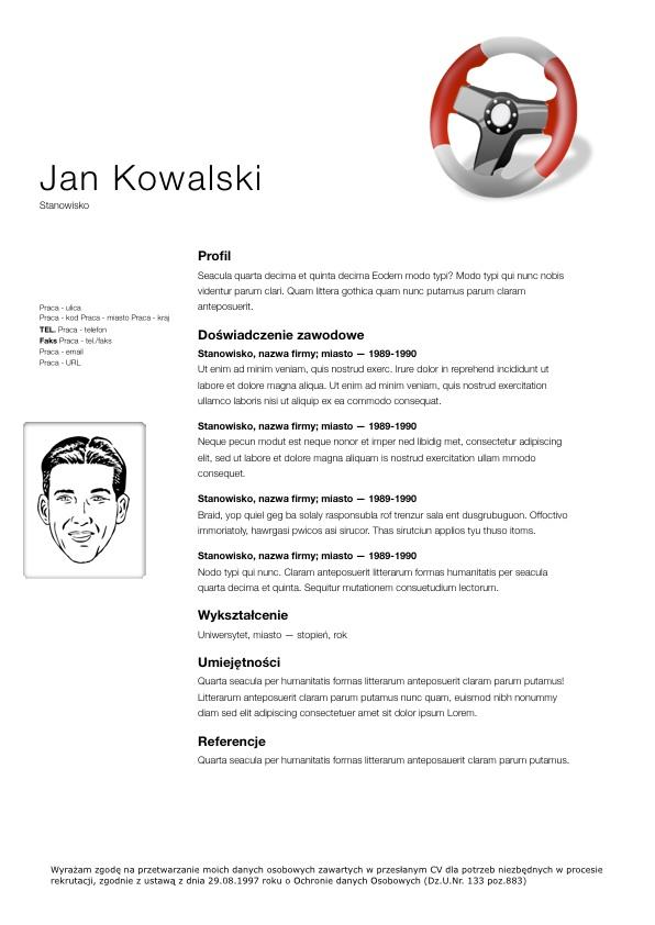 CV dla kierowcy tira  ci    ar  wki